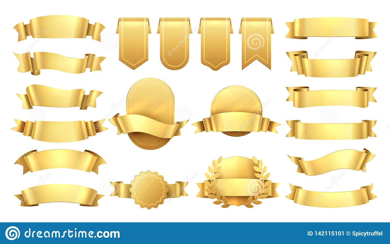 Cintas de oro Viejas etiquetas brillantes, elementos de la bandera de la onda, decoración retra de la promoción, venta amarilla d