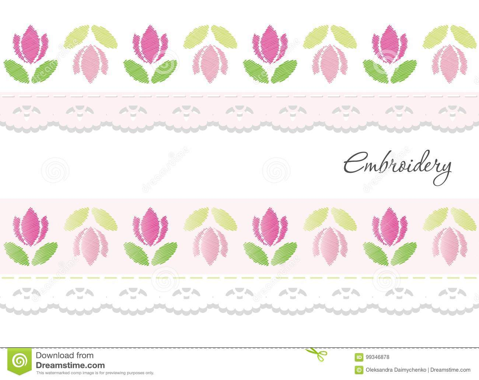Cintas Decorativas Del Bordado Aisladas En Blanco Ilustración del ...
