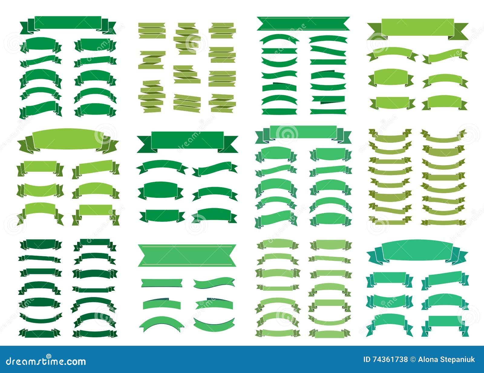Cintas en blanco hermosas de la decoración del sistema grande verde de las banderas