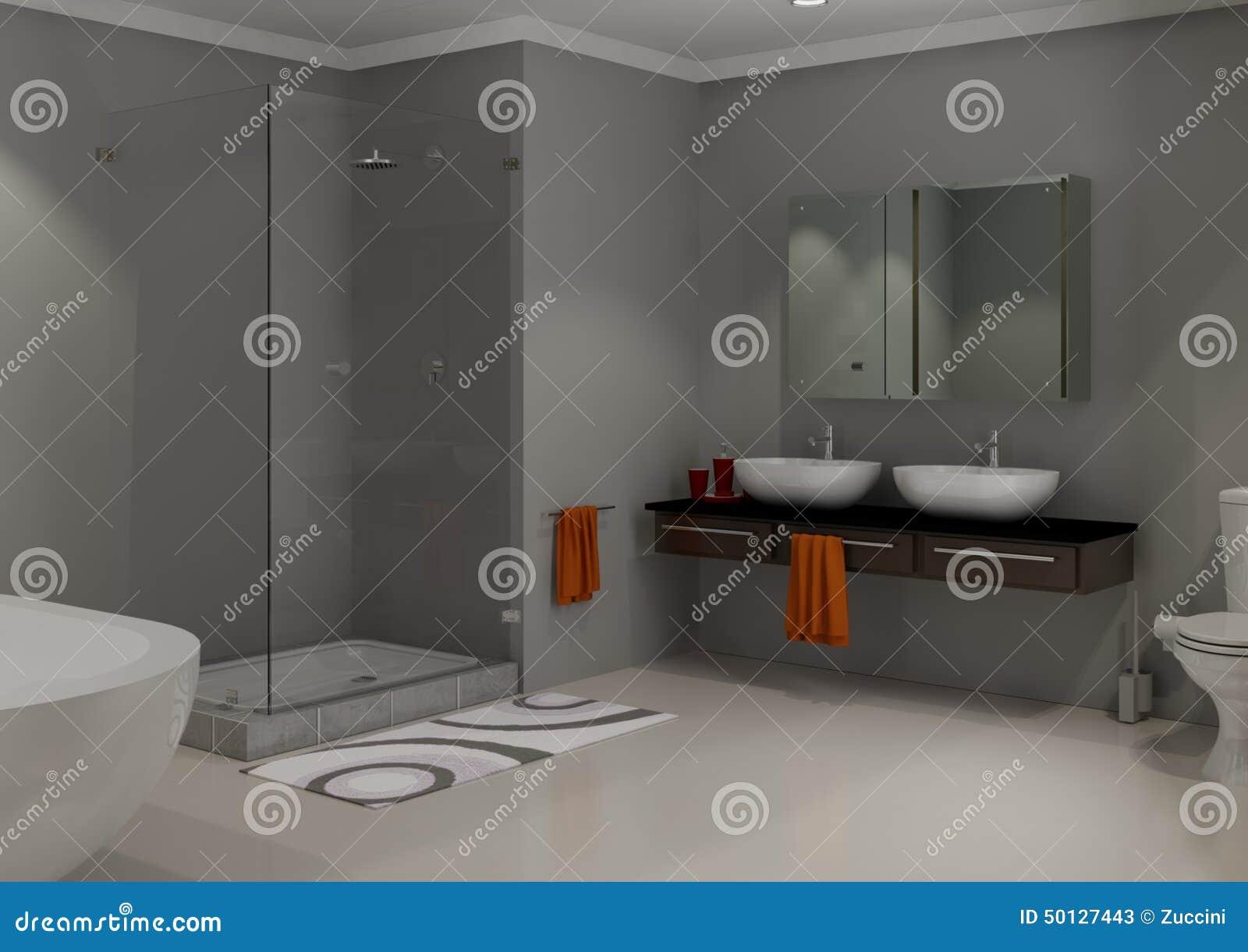 Cinza Moderno De Luxo Do Banheiro Ilustração Stock  Imagem 50127443 -> Banheiro Cinza Moderno