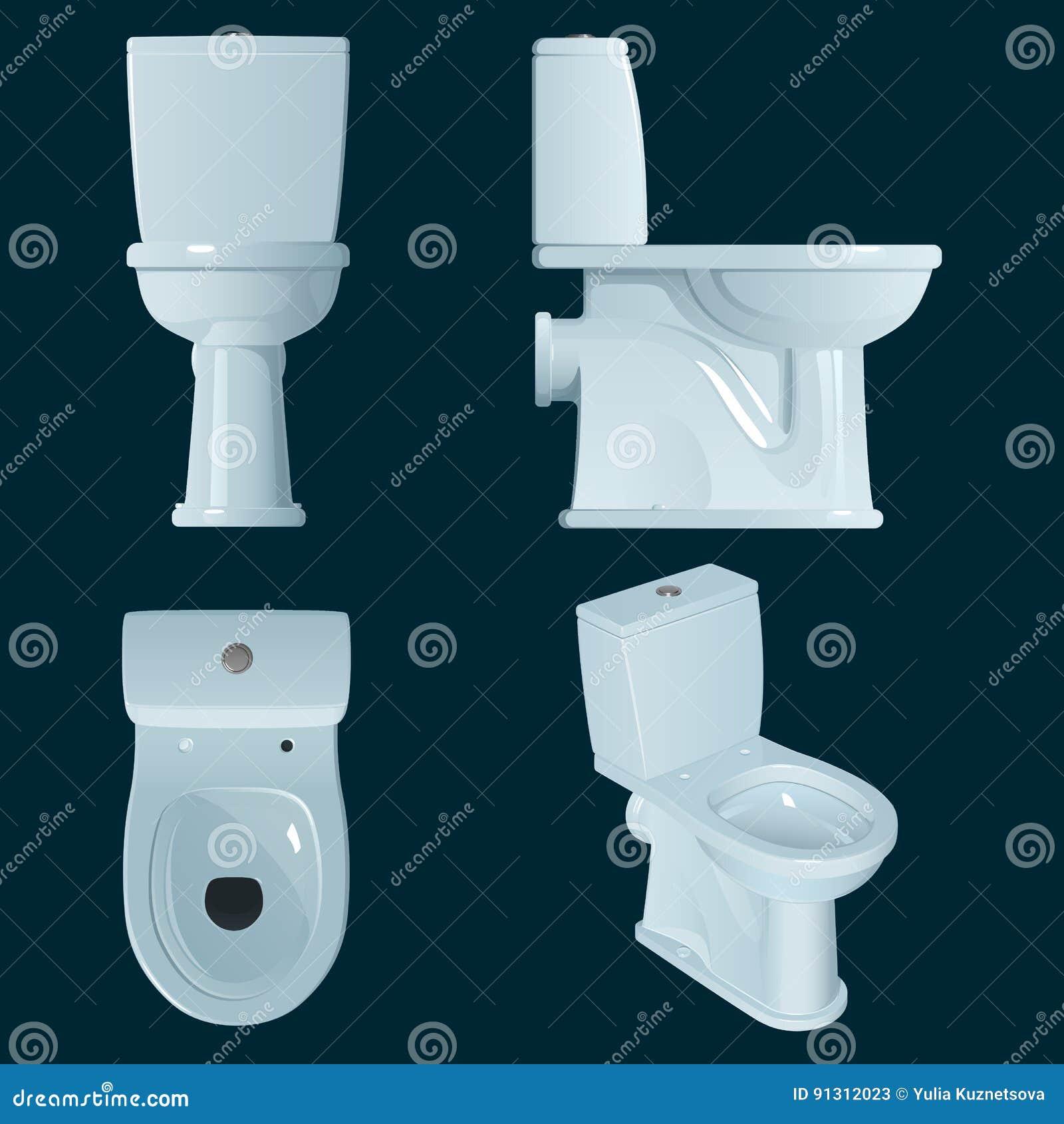Ciotola di toilette bianca della porcellana su un fondo blu scuro, su una vista generale e su tre proiezioni