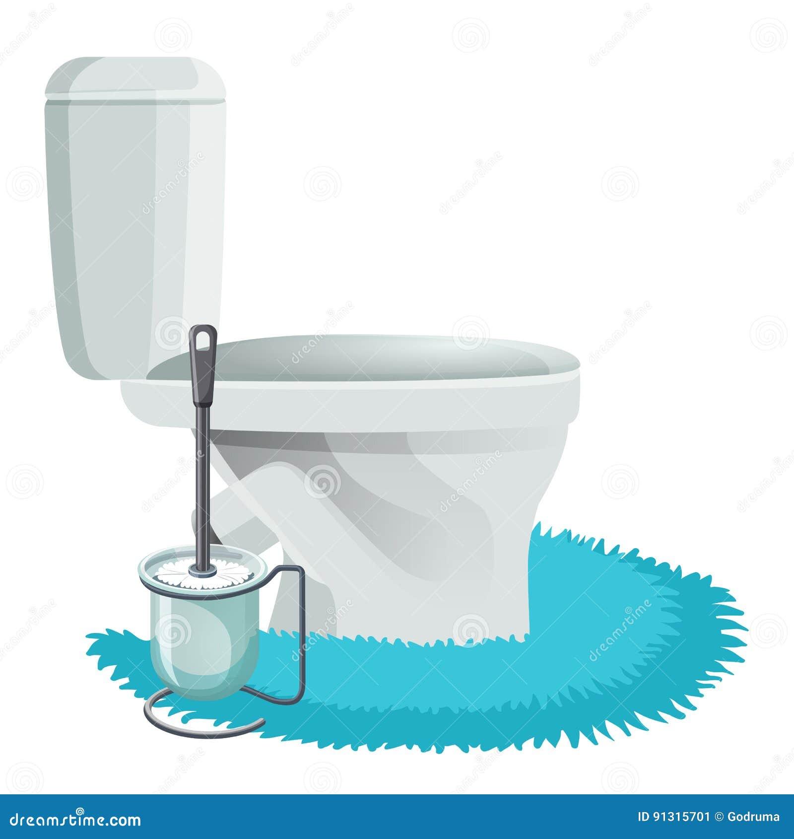 Ciotola di toilette bianca sulle icone blu della spazzola di pulizia e della coperta