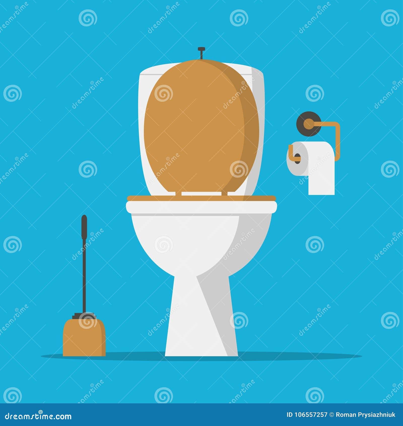 Ciotola di toilette, carta del lavabo e spazzola della toilette Vettore