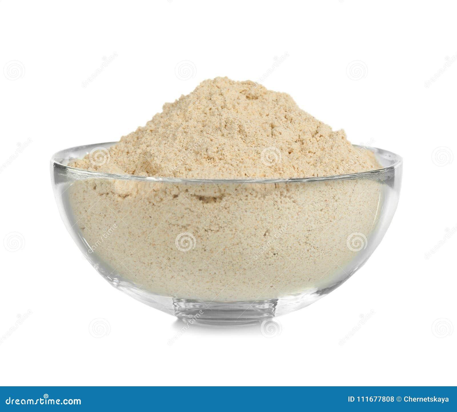 Ciotola di vetro con farina