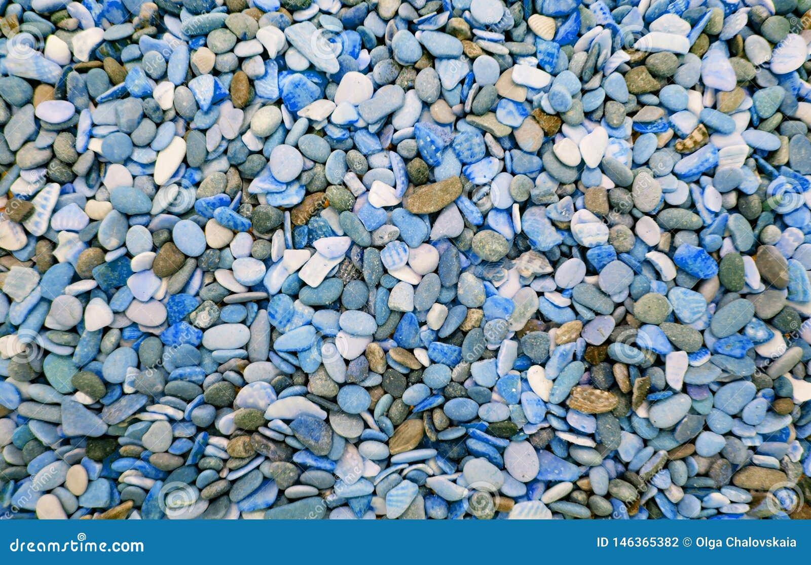 Ciottoli rotondi multicolori sulla spiaggia Bello fondo