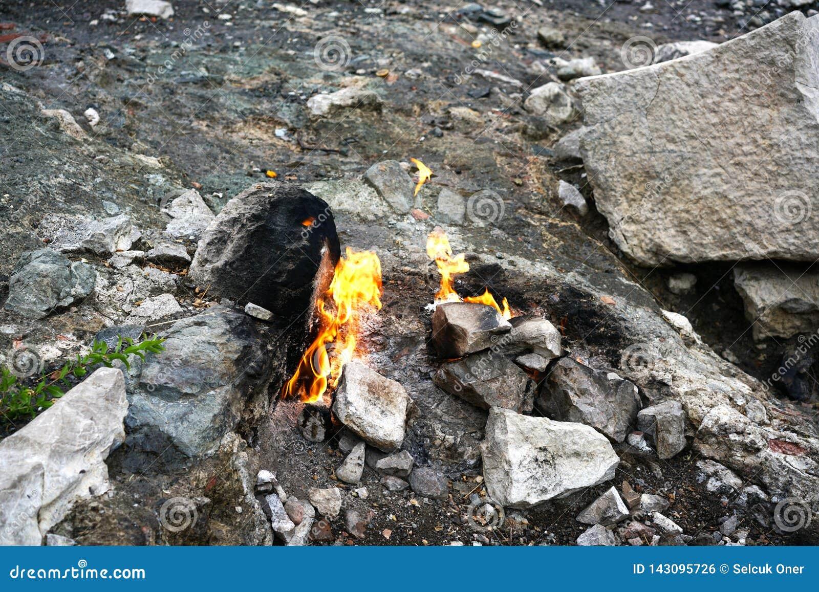 Chimera, burning rocks are remarkable spot ot the trail of Lycian way near Cirali, Antaly