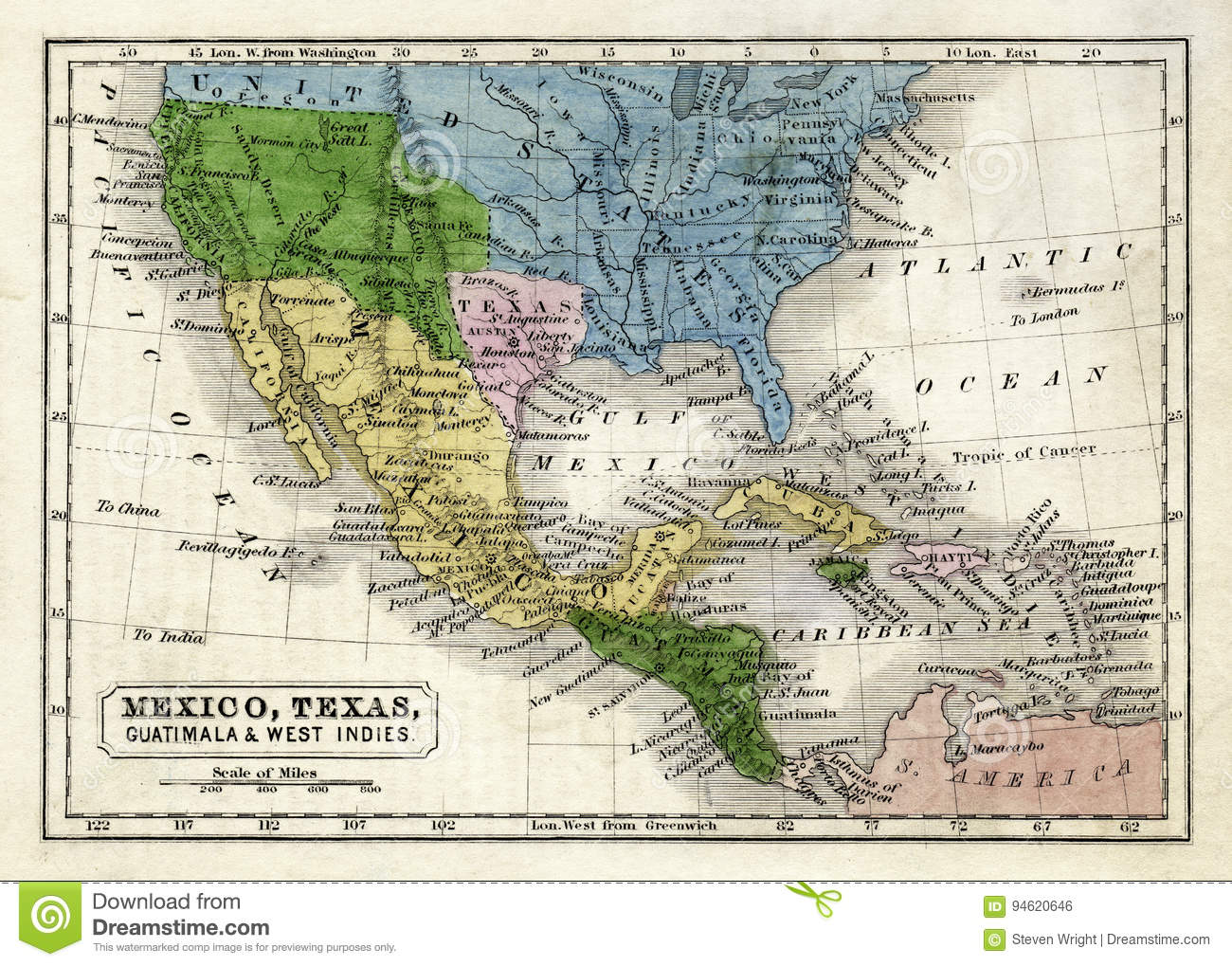 Circa 1845 Boynton Map Of The Republic Of Texas Mexico Guatemala