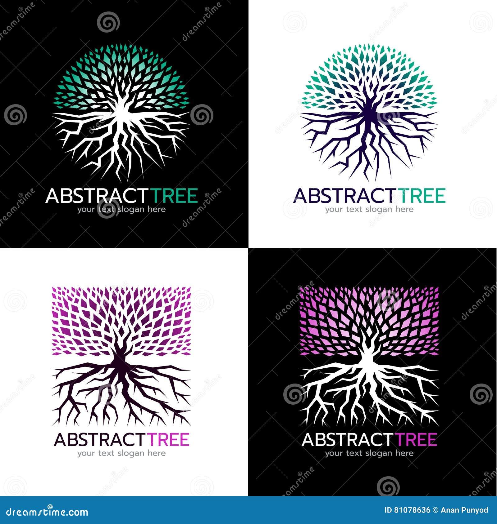Circle Abstract Tree Logo And Square Abstract Tree Logo ...
