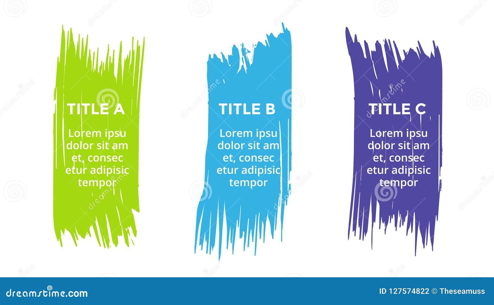 Vector Brush Infographic Diagram  Brushstroke Labels Graph  Stickers Presentation  Business