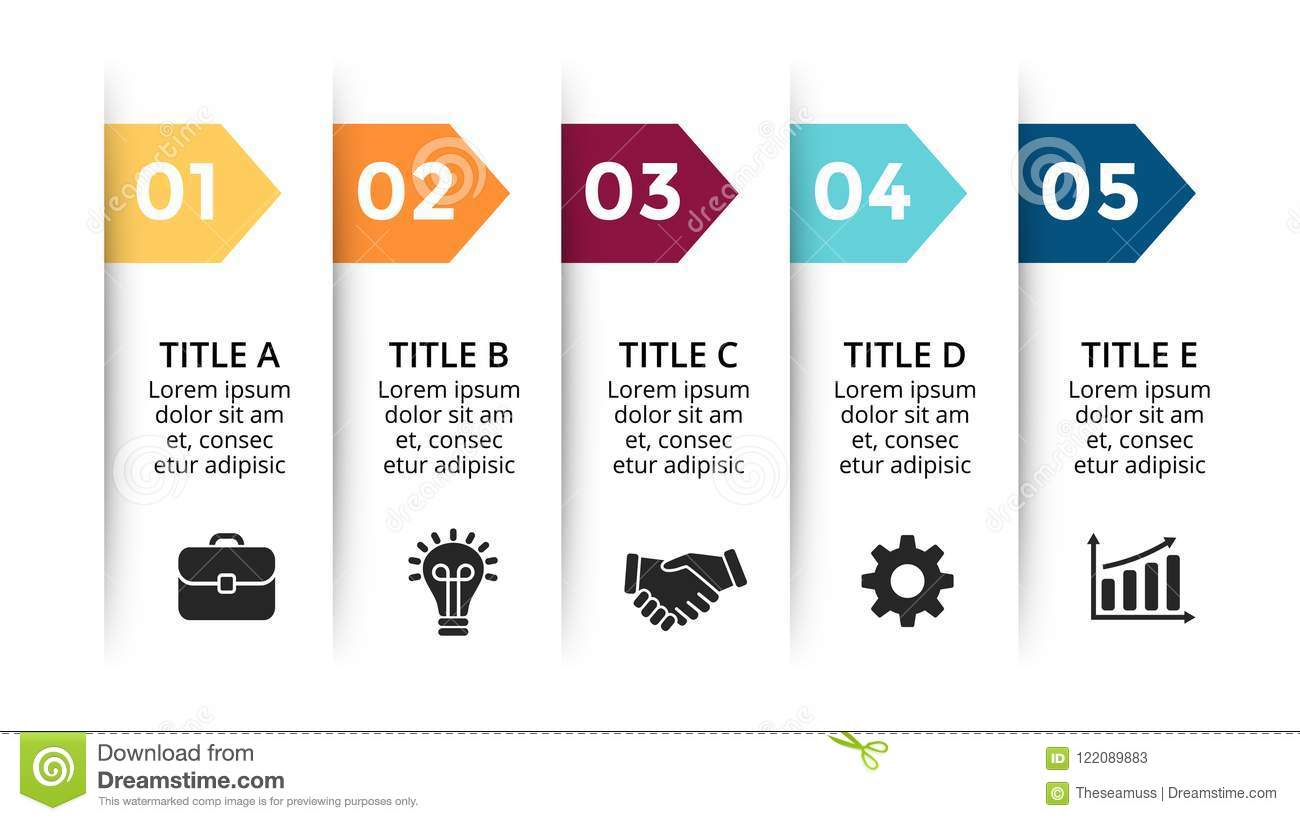 Vector Paper Arrows Infographic  Cycle Diagram  Labels Graph  Stickers Presentation Chart