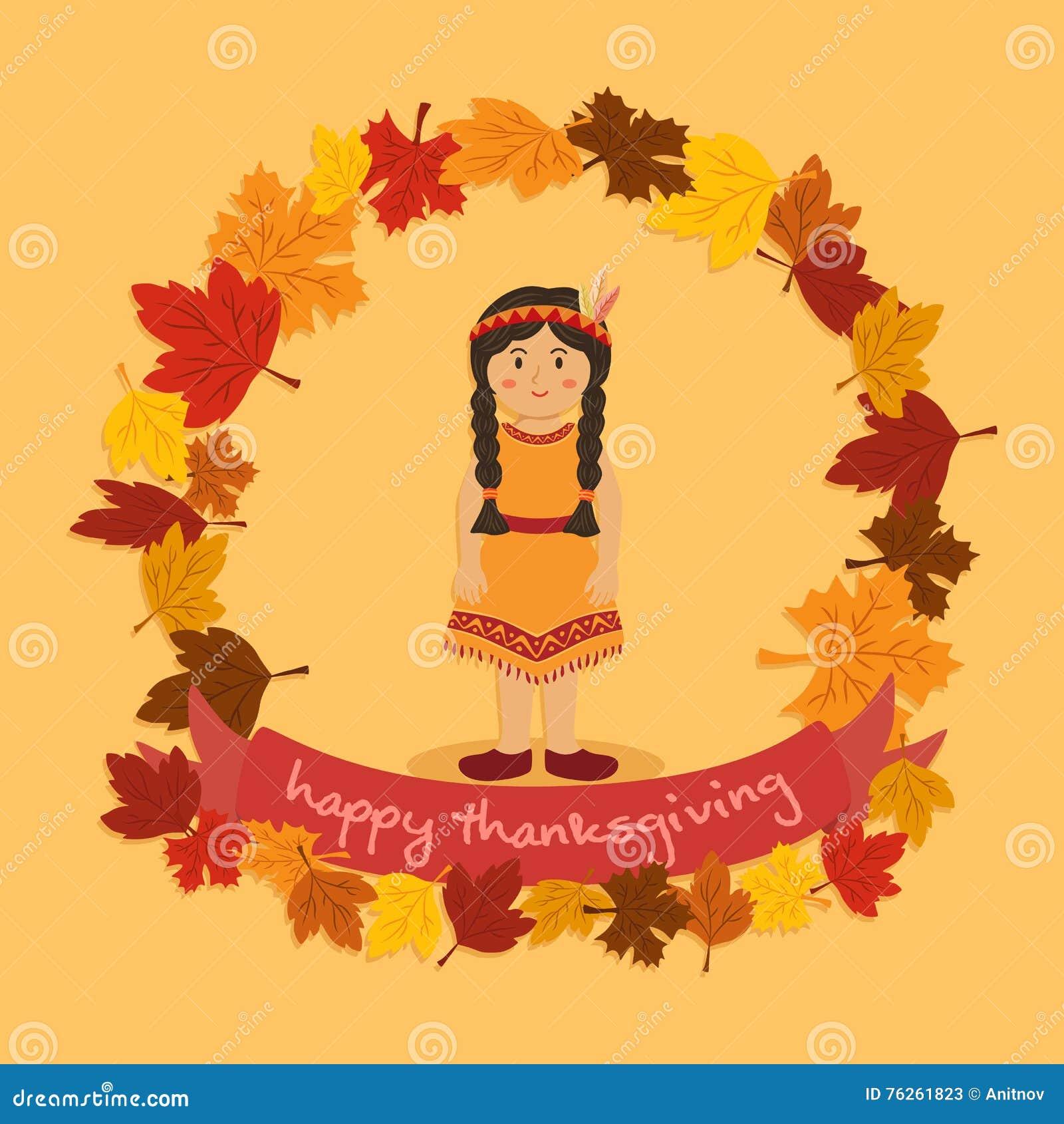 Circle Autumn Leaf Thanksgiving Indian Braid Girl Vector Cartoon