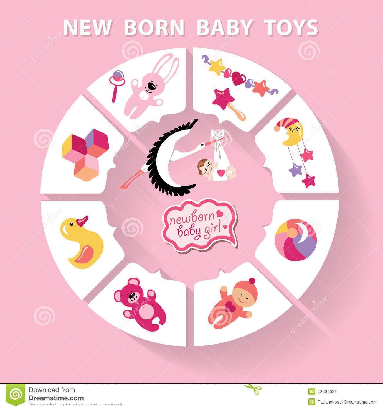 New Baby Toys : Circle baby infographic new born girl toys stock