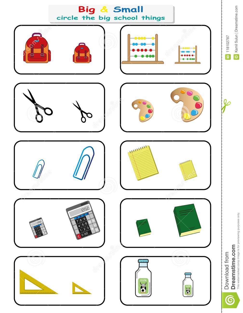 Circle The Big School Things, Find Big Or Small Worksheet For Kids ...