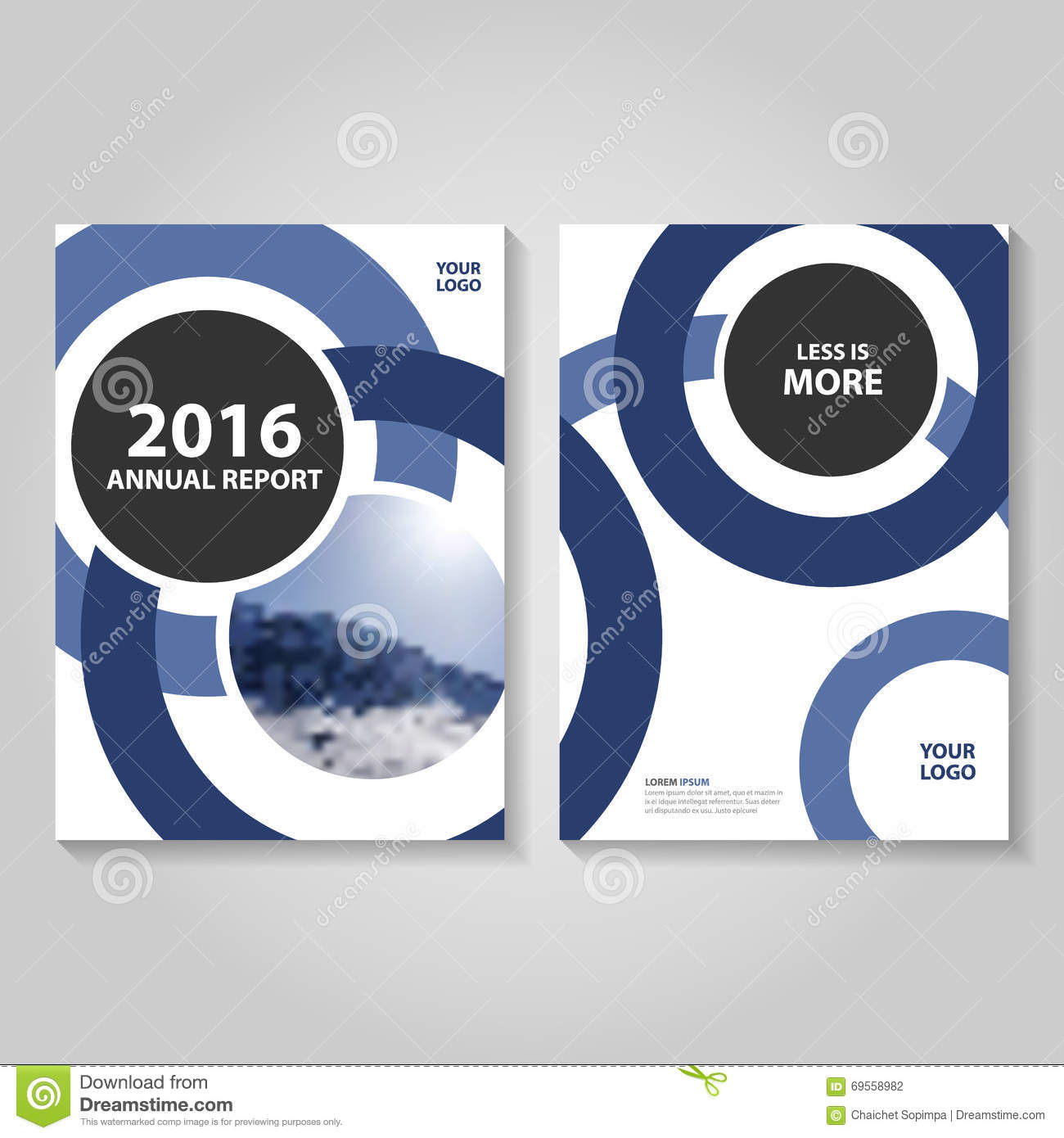 circle blue annual report leaflet brochure flyer template design