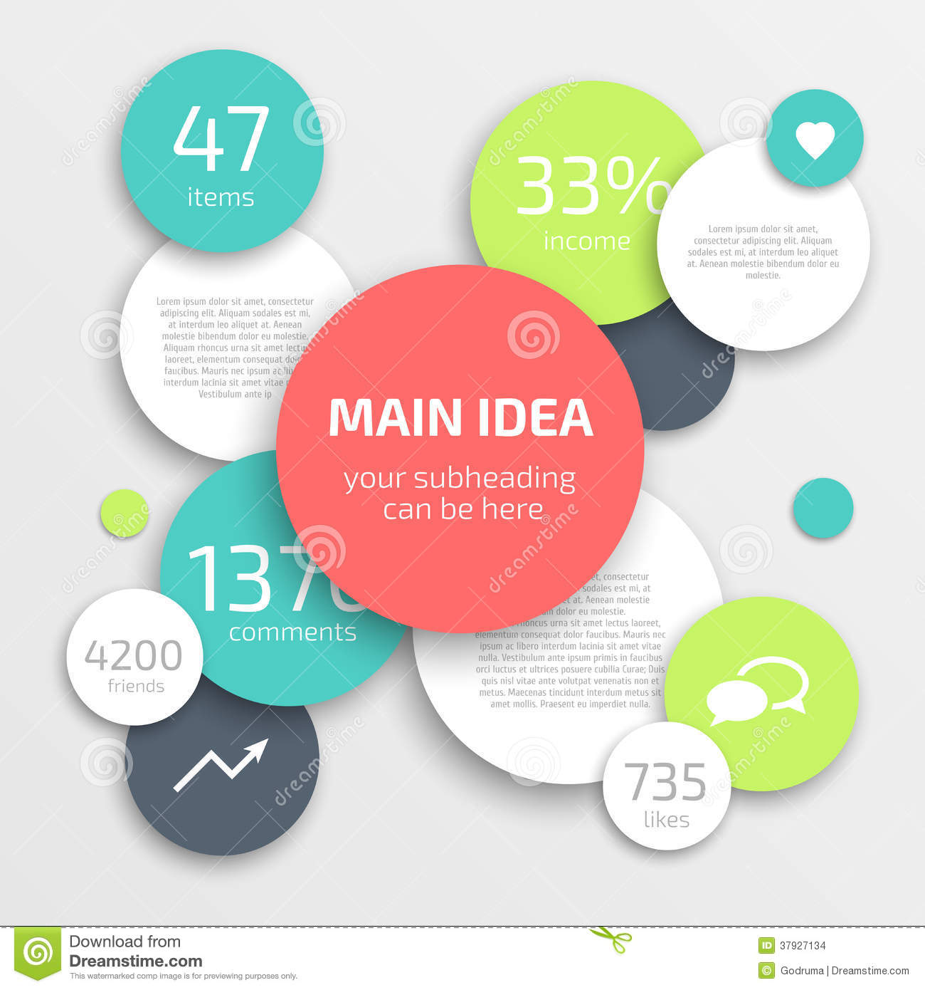 Circle modern business Infographics design template. Can be used for ...
