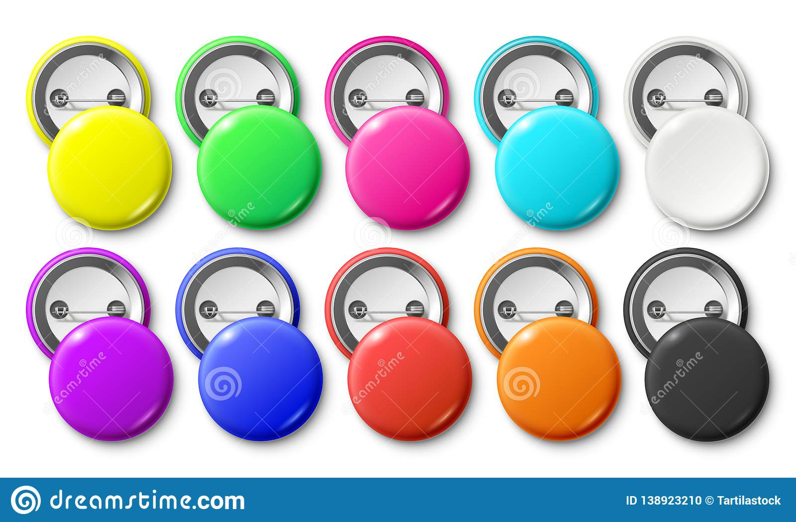 Circle button badge. Round pinned badges tag, metal pinback buttons and colorful pin label realistic isolated vector