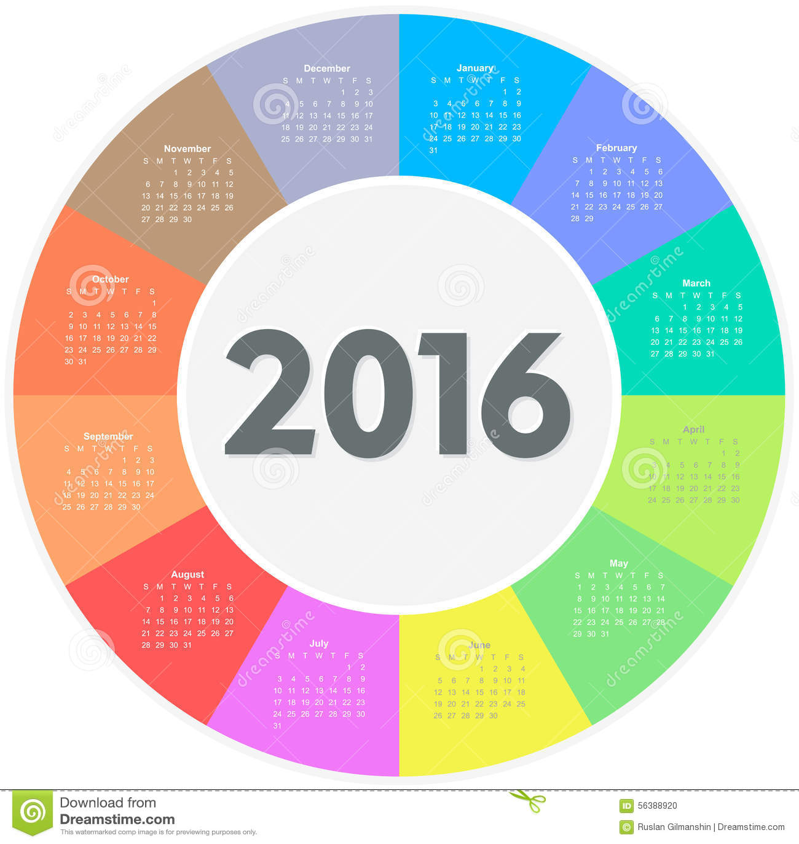 Circle Calendar For 2016 Year Stock Vector - Image: 56388920