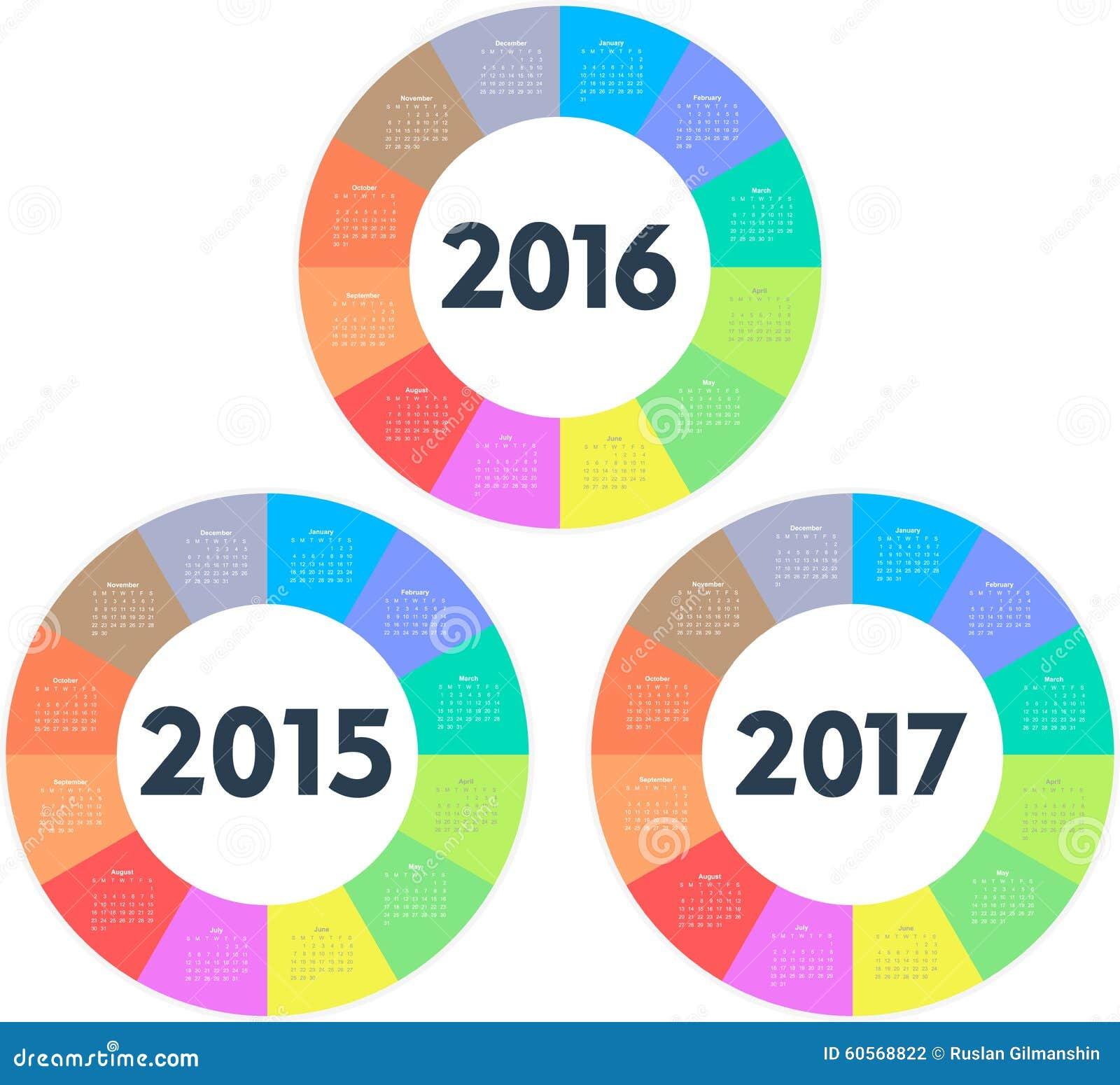 circle calendar for 2015 2016 2017 years stock vector
