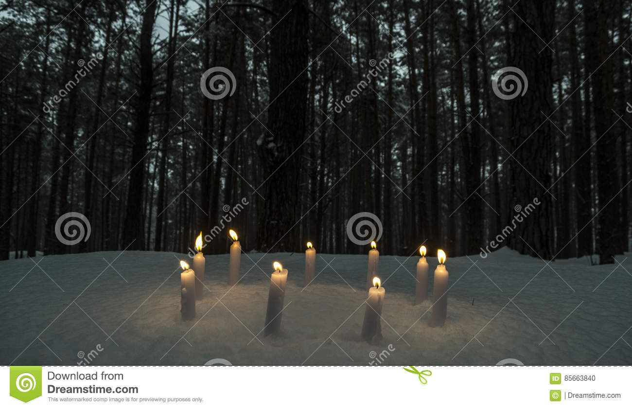 circle of candles in dark winter forest stock photo image of broom