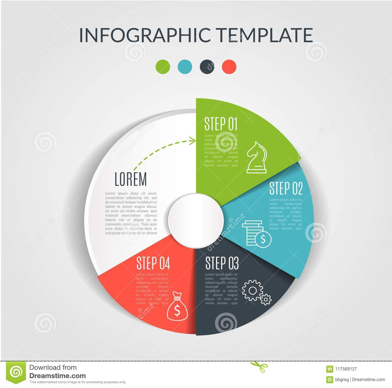 Circle chart infographic template with 4 options for presentations, advertising, layouts, annual reports. Vector