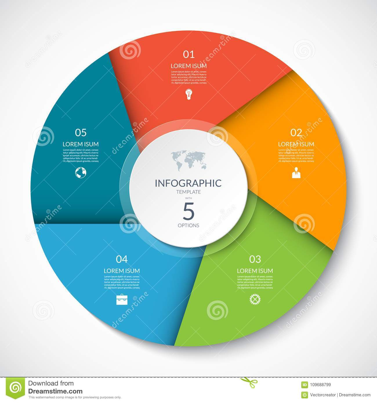Circle Chart For Infographics. Vector Diagram With 5 Options. Stock ...