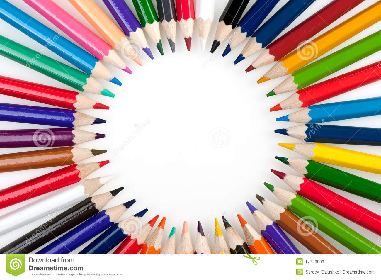 Crayon Colored Circle : Circle from color pencils stock photos image
