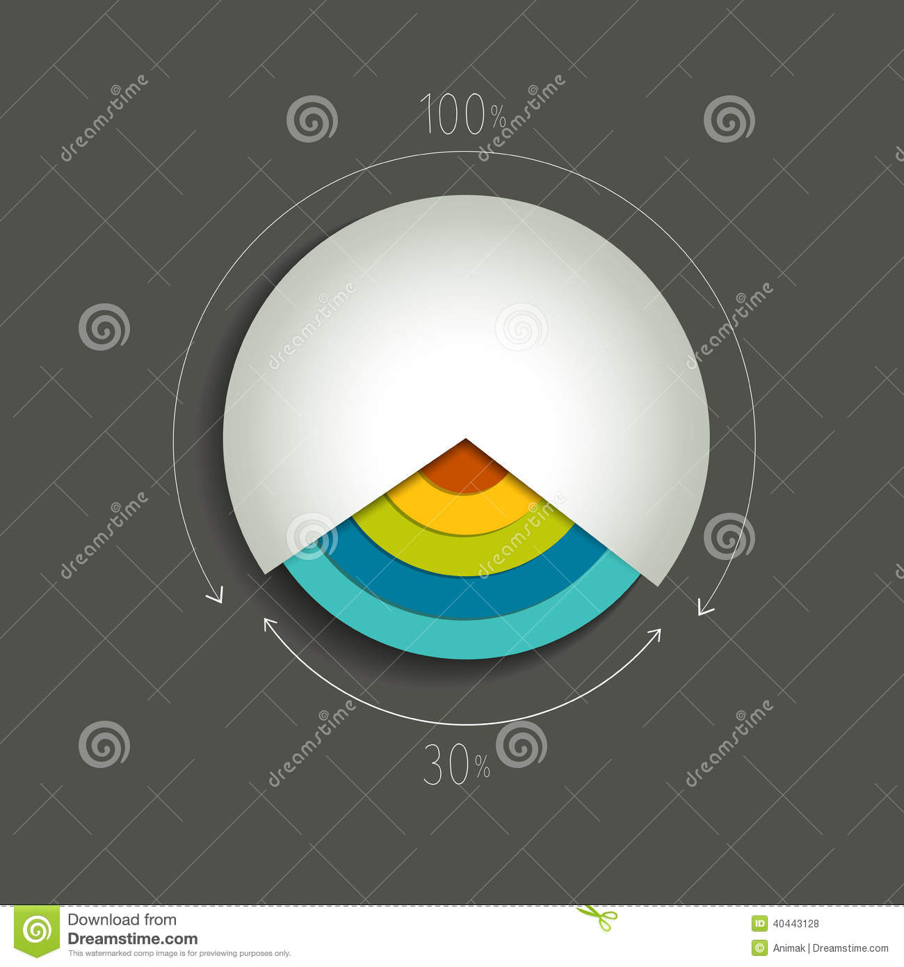 Circle color pie chart diagram.