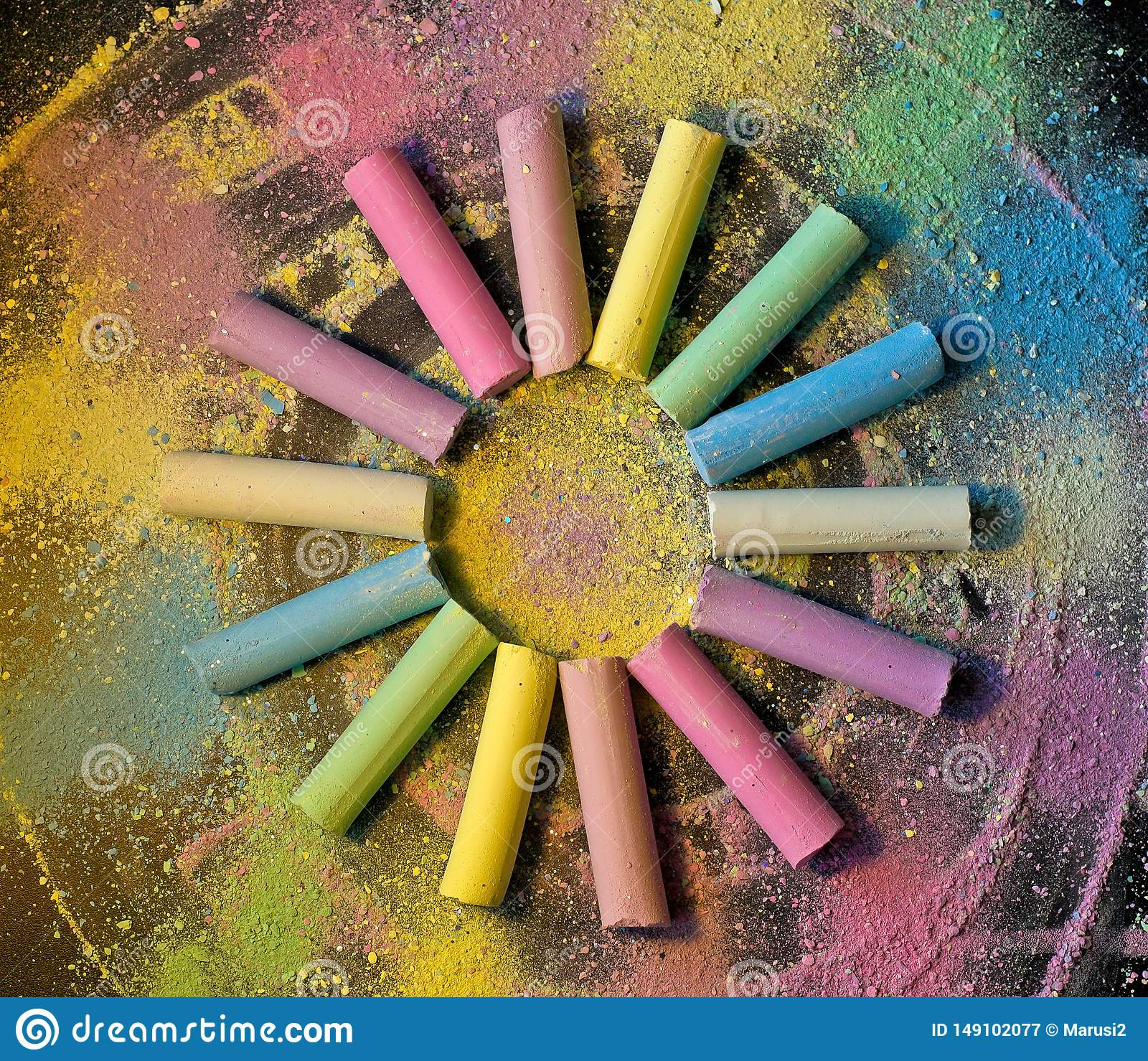 Circle from colorful chalk on colored background