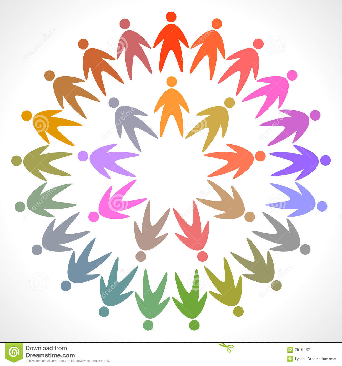 Circle Of Colorful People Pictogram Stock Vector - Image ...