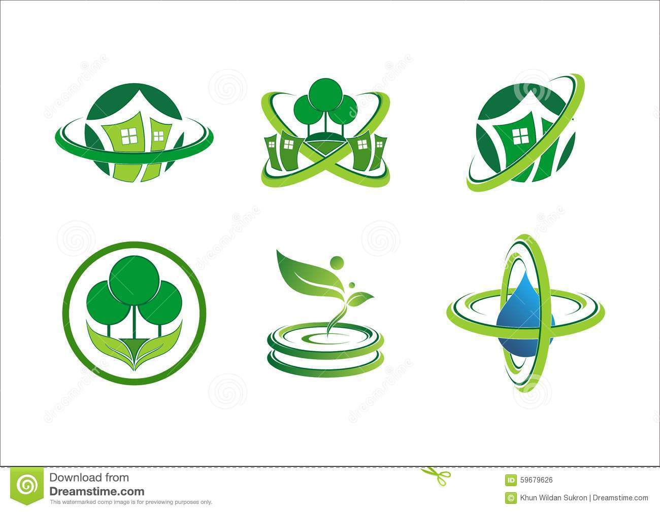 Circle Connection Home Plant Logo House Building Landscape Real Estate Green Nature Symbol Icon