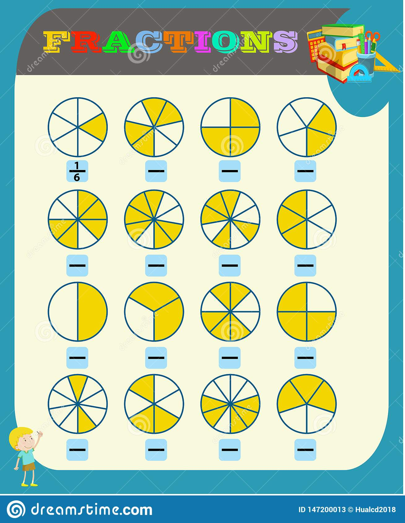 - Circle The Correct Fraction, Mathematics, Math Worksheet For Kids