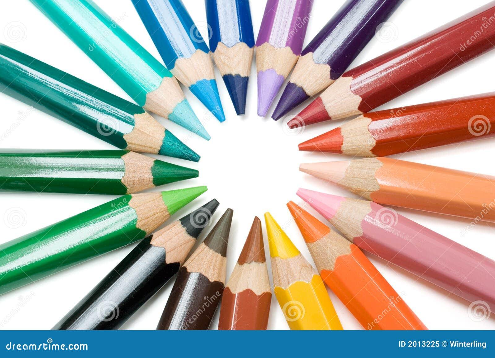Crayon Colored Circle : Circle of crayons stock image coloring