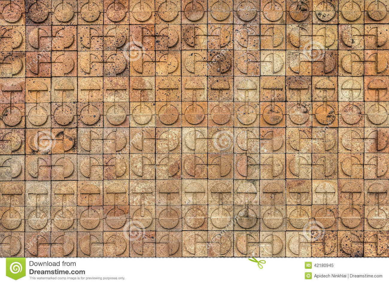 circle design on bricks wall stock image image 42180945