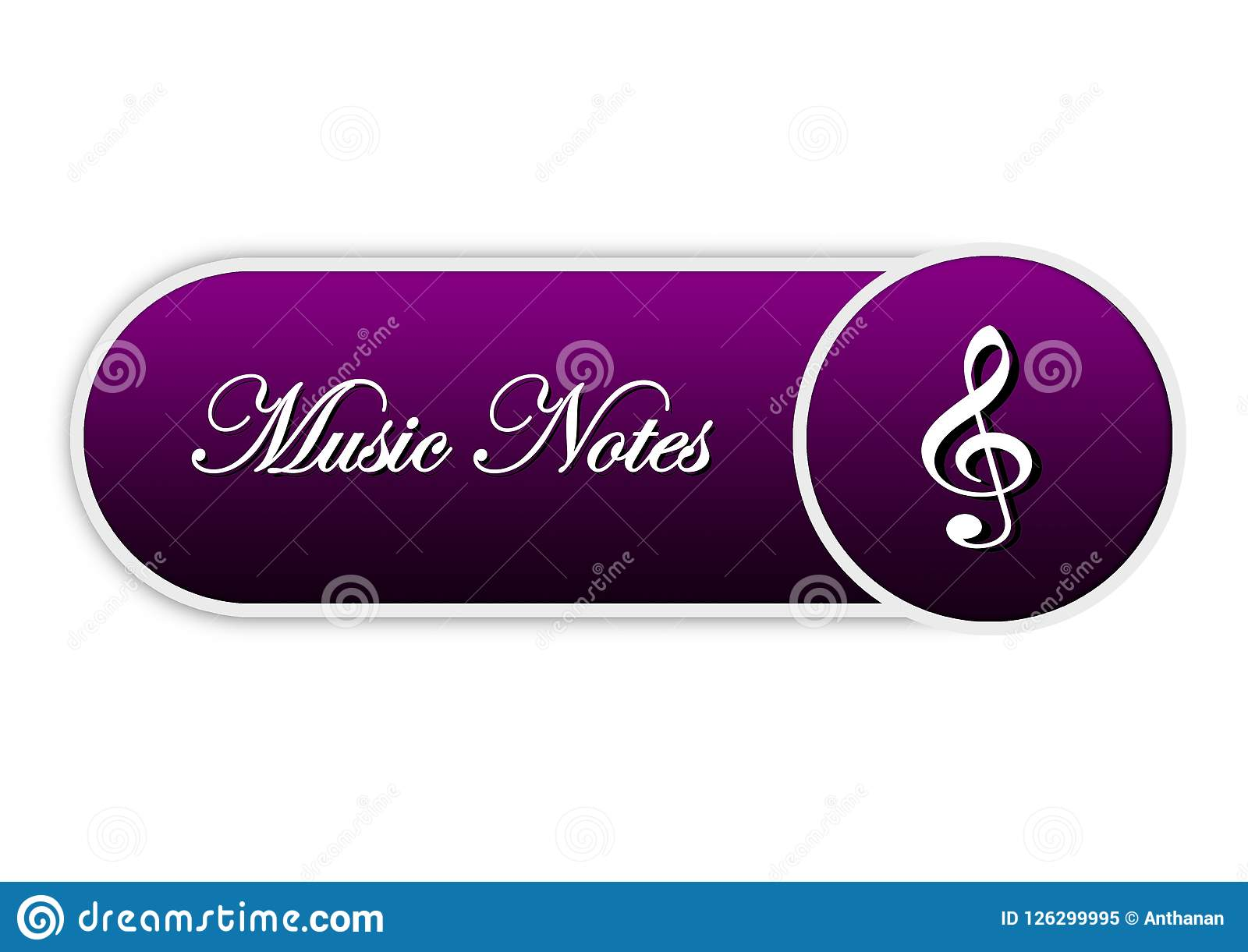 Circle Designing Element Color Music Notes And Web Button Stock