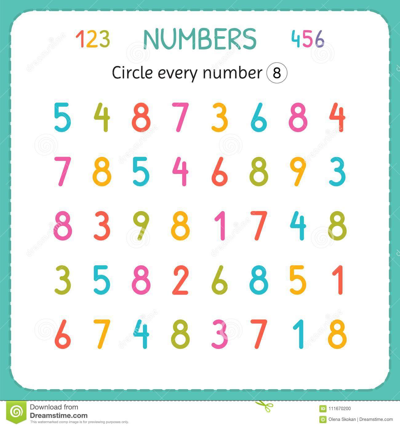 Circle every number Eight. Numbers for kids. Worksheet for kindergarten and preschool. Training to write and count numbers. Exerci