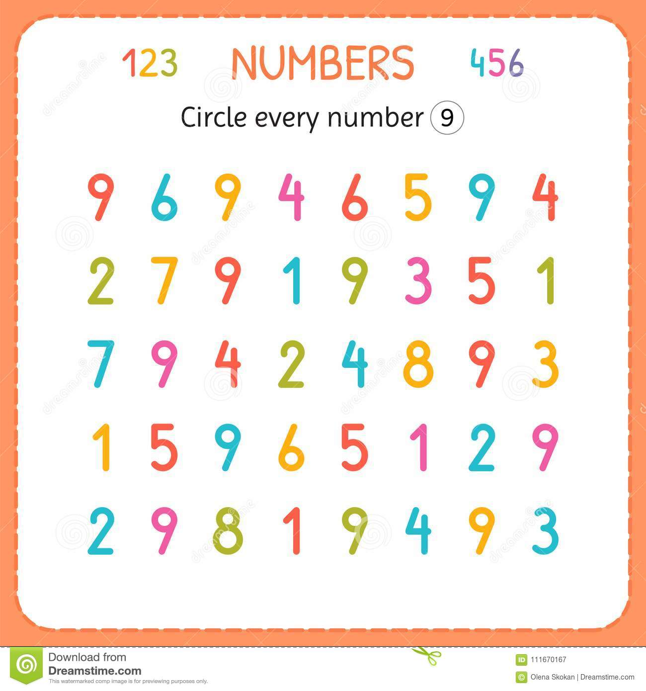 Circle Every Number Nine. Numbers For Kids. Worksheet For ...