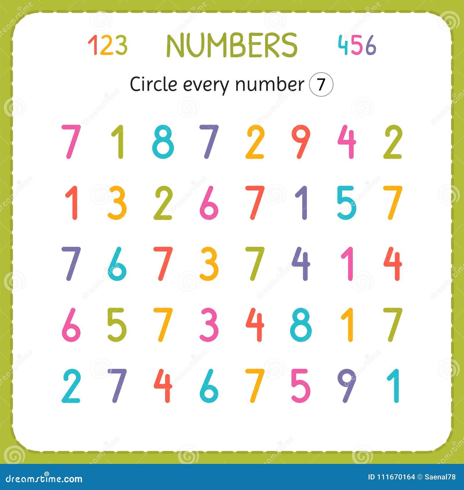 circle every number seven numbers for kids worksheet for kindergarten and preschool training. Black Bedroom Furniture Sets. Home Design Ideas