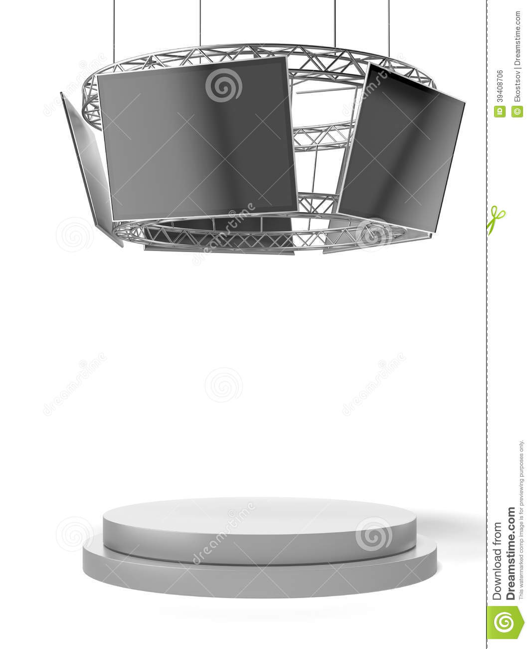 Exhibition Stand Circle : Circle exhibition stand with tv and pedestal stock photo