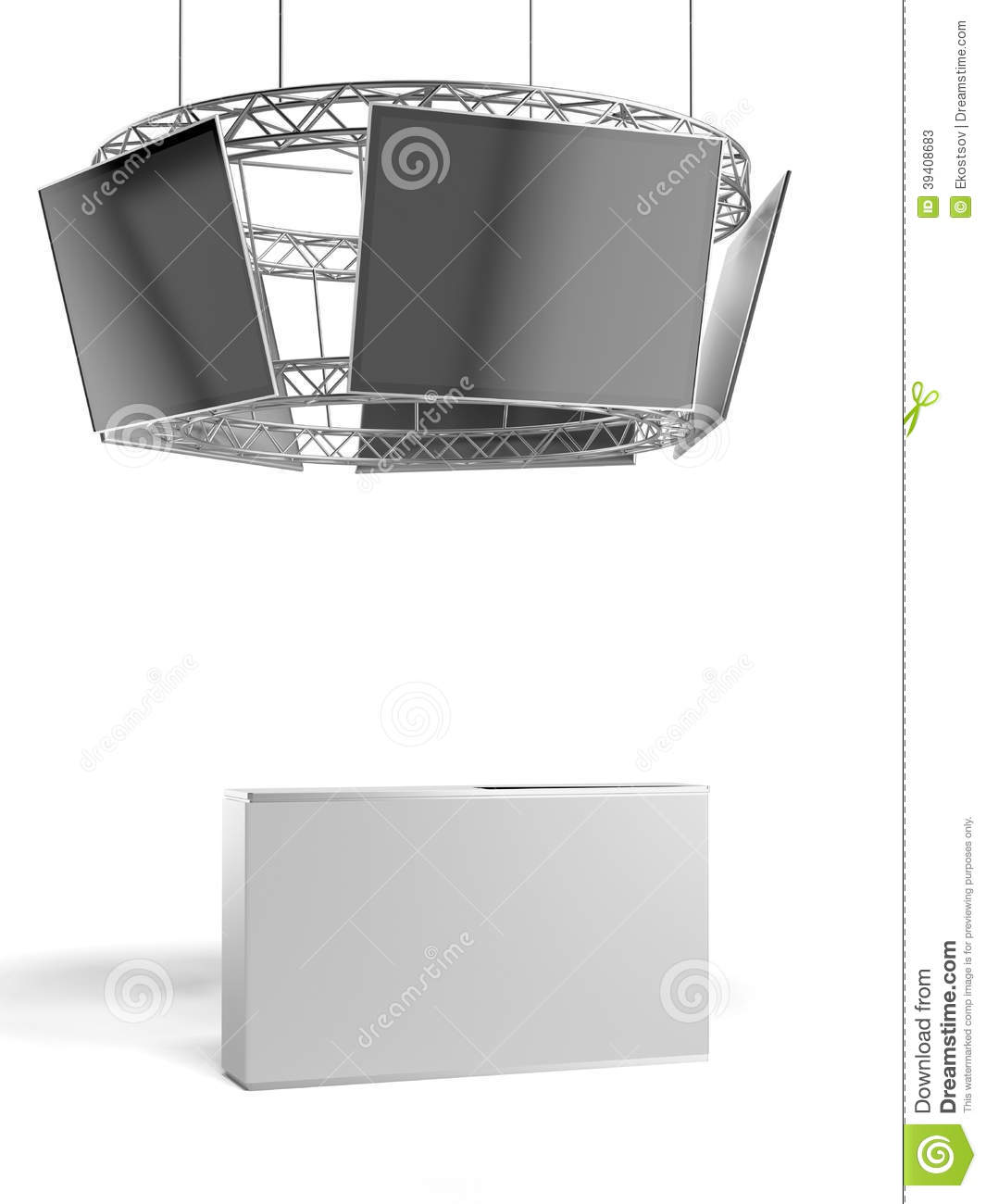 Exhibition Stand Table : Circle exhibition stand with tv and table stock photo