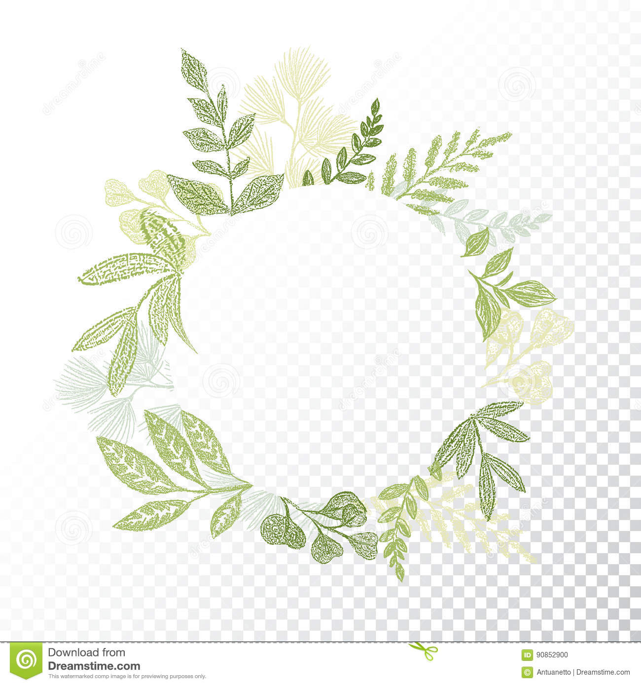 Floral design in circle stock vector image 75615991 - Circle Floral Frame Branches Leaves Hand Drawn Decoration Round Green Botanical Border Card Design Transparent 90852900
