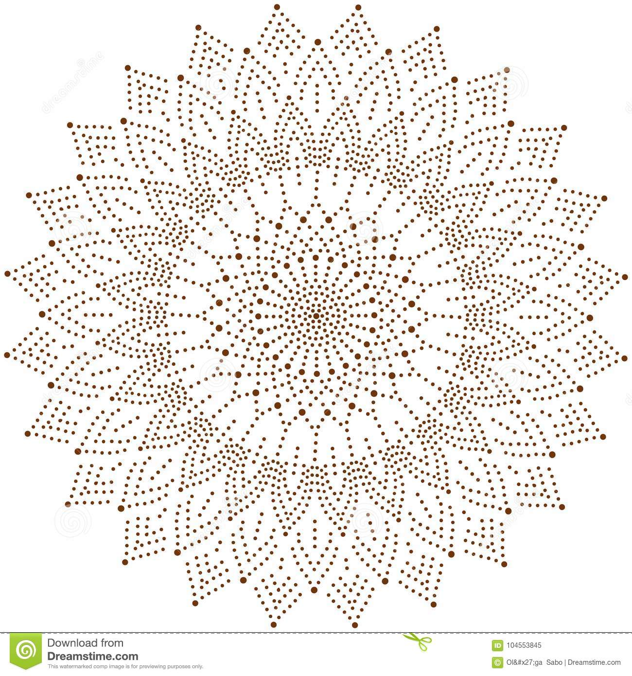 Circle Floral Ornament Dot Henna Tattoo Style Stock Vector