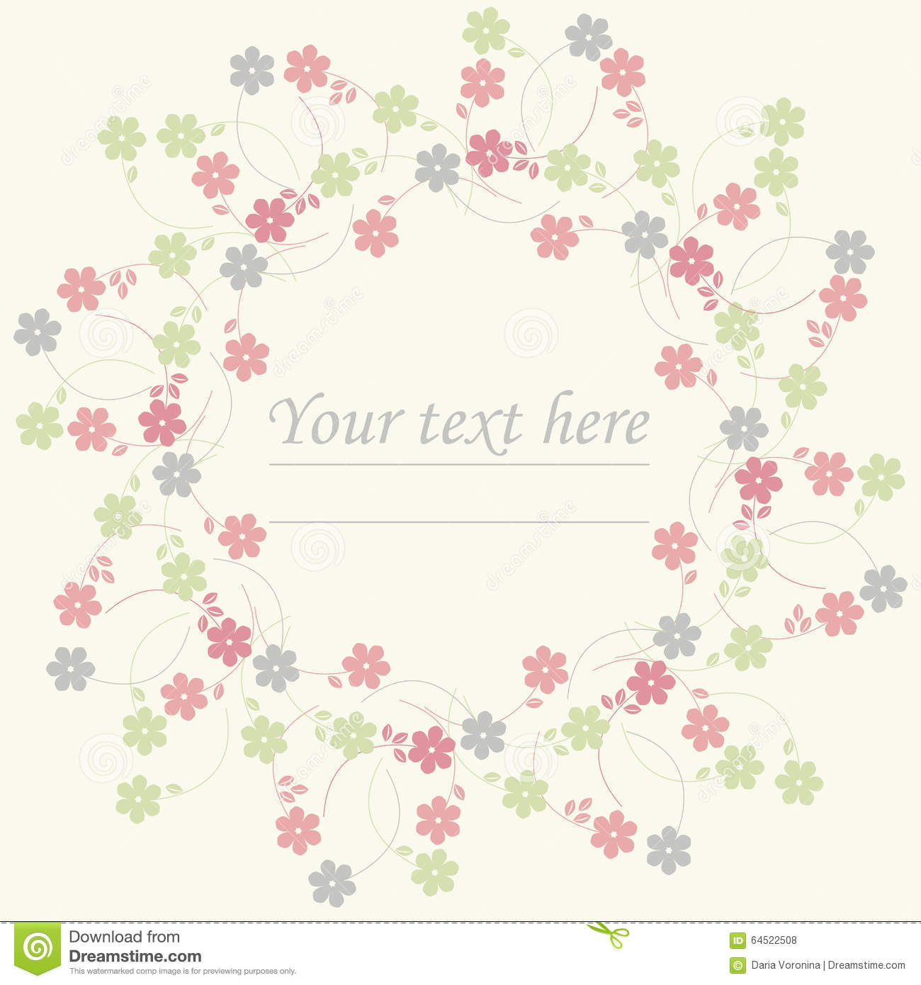 Circle Frame With Cute Spring Flowers Illustration 64522508 Megapixl