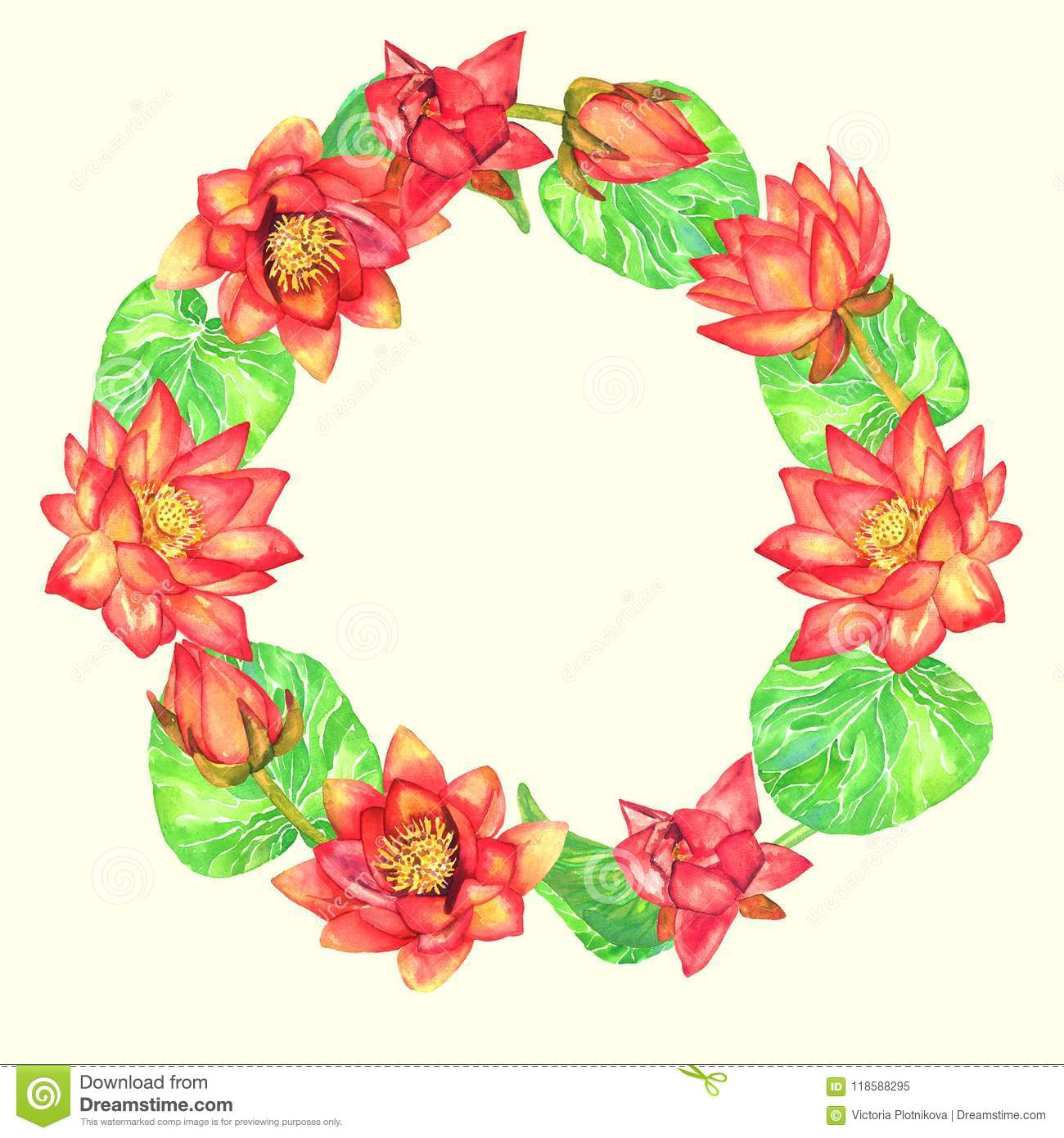 Circle Frame Greeting Card Design Of Red Lotus Flowers On Soft