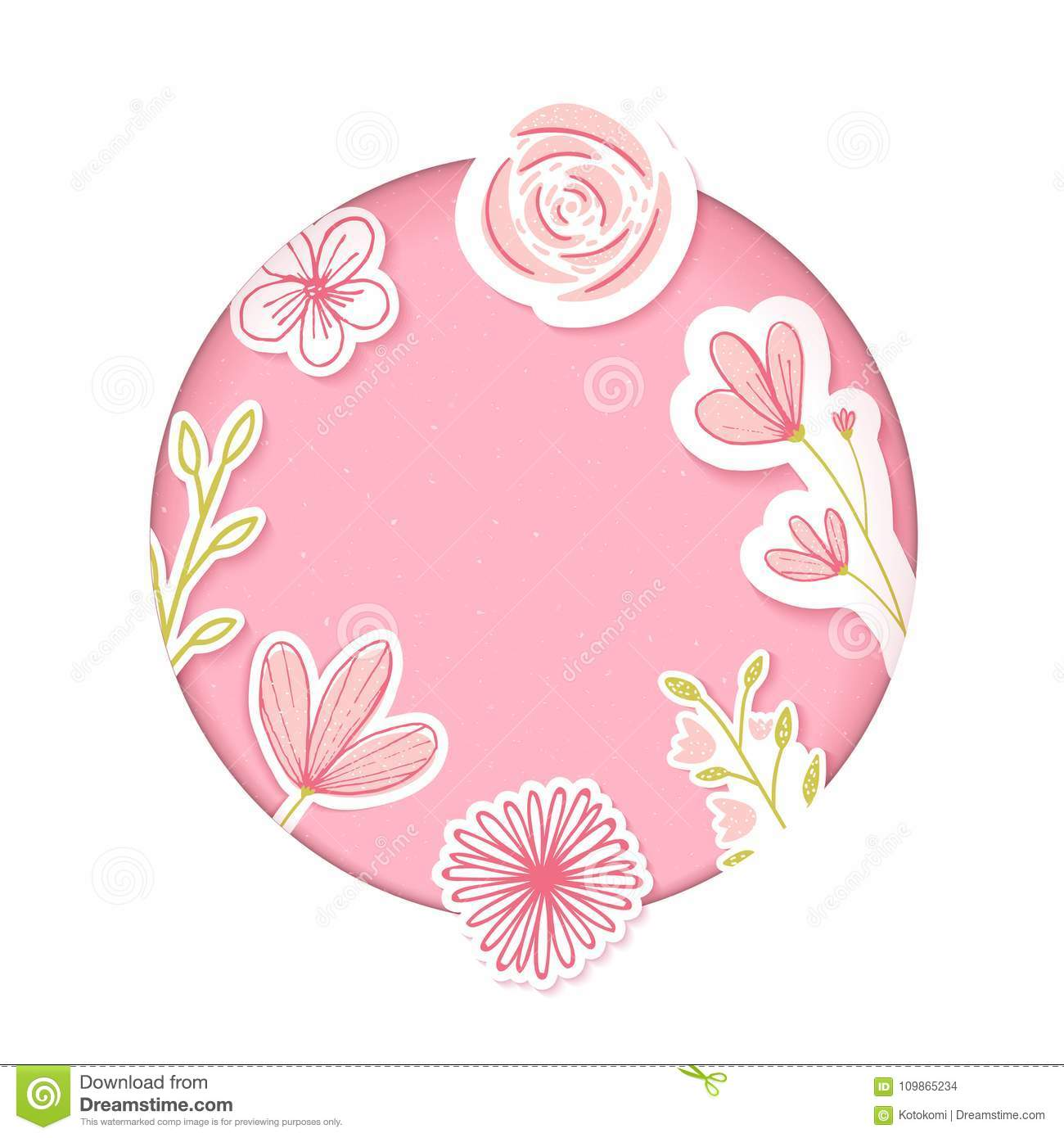 Circle frame. Pink paper clip art with hand drawn flowers. Blank template for feminine products, cosmetics, sales.