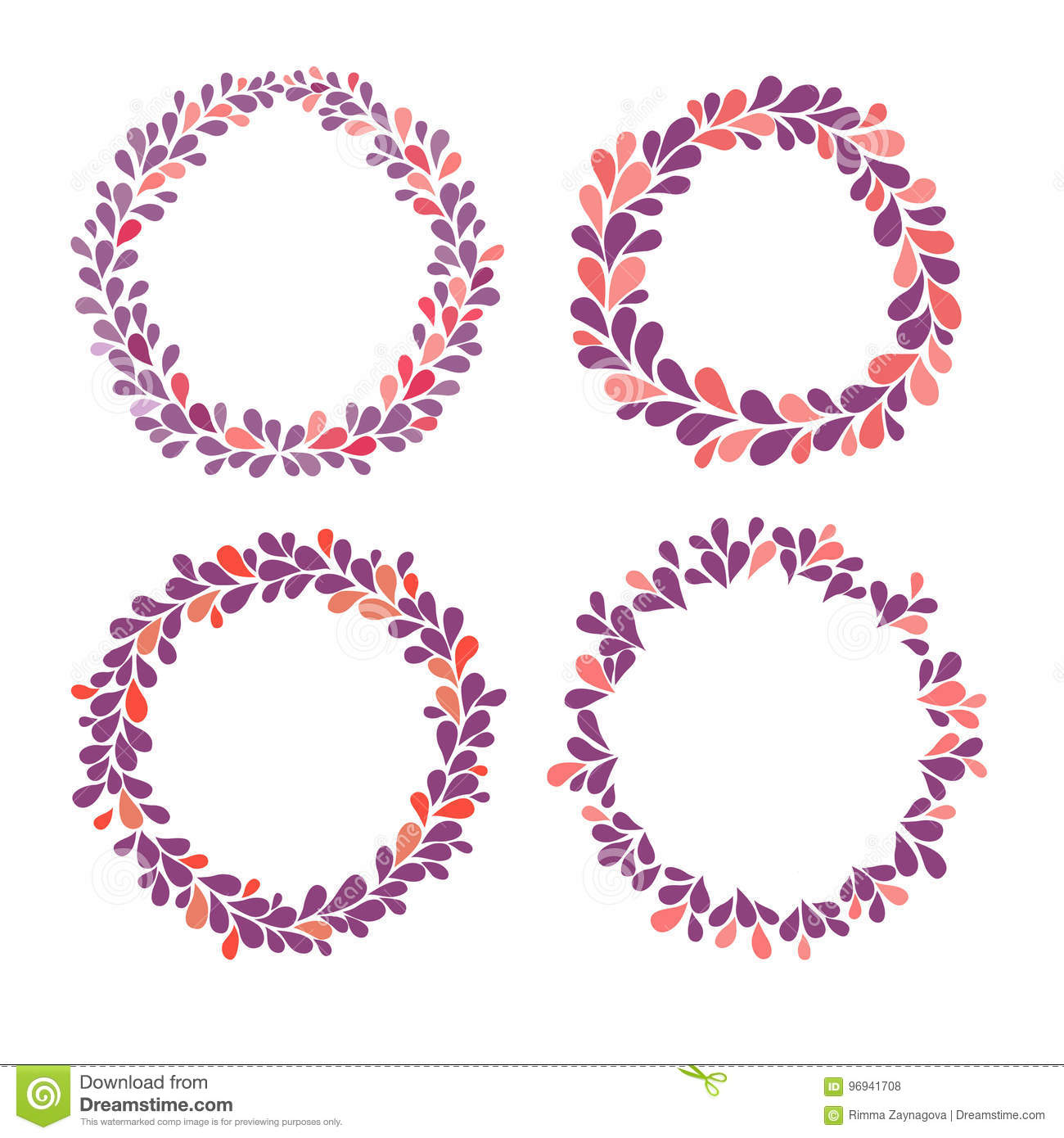 Circle Frame Vector Collection, Purple, Pink And Red Colors. Stock ...