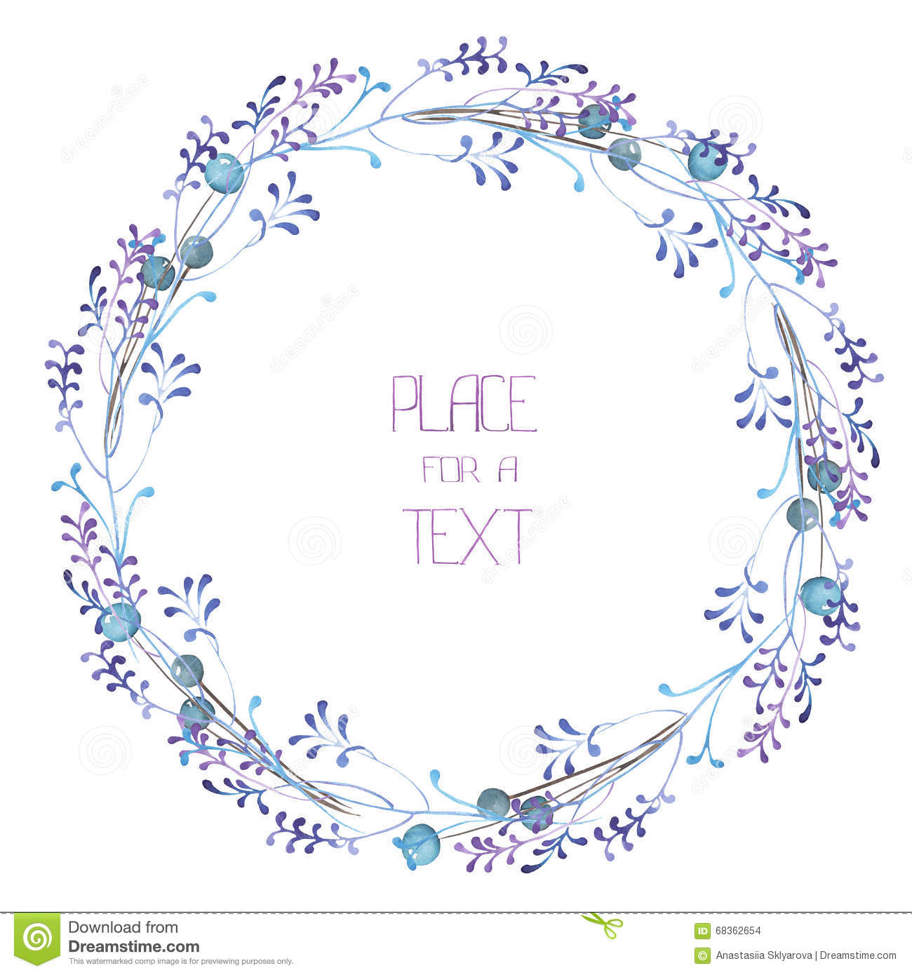 A Circle Frame Wreath Frame Border With The Watercolor Blue Berries And Violet Branches