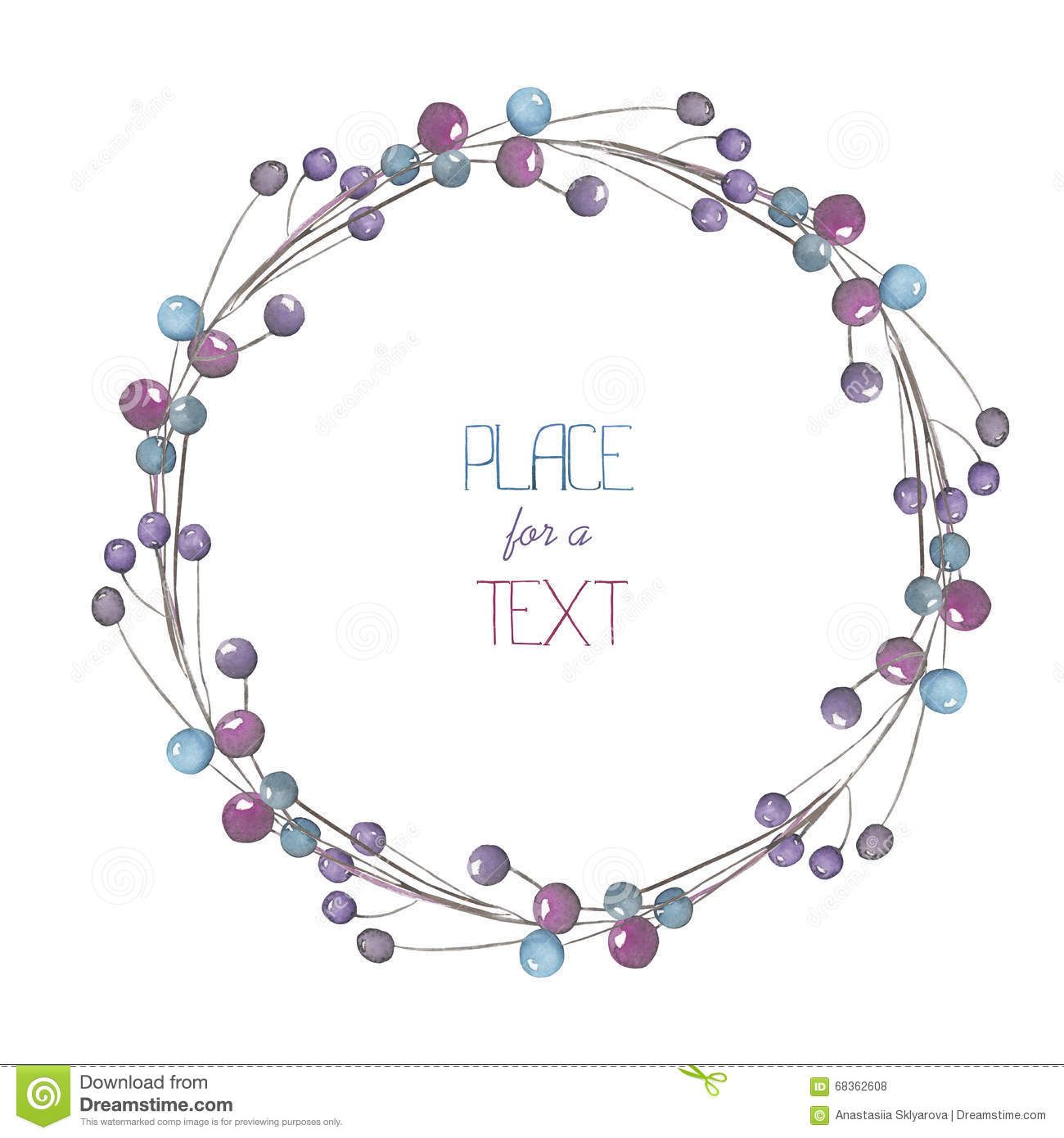 a circle frame wreath frame border with the watercolor blue and violet berries - Wreath Frame