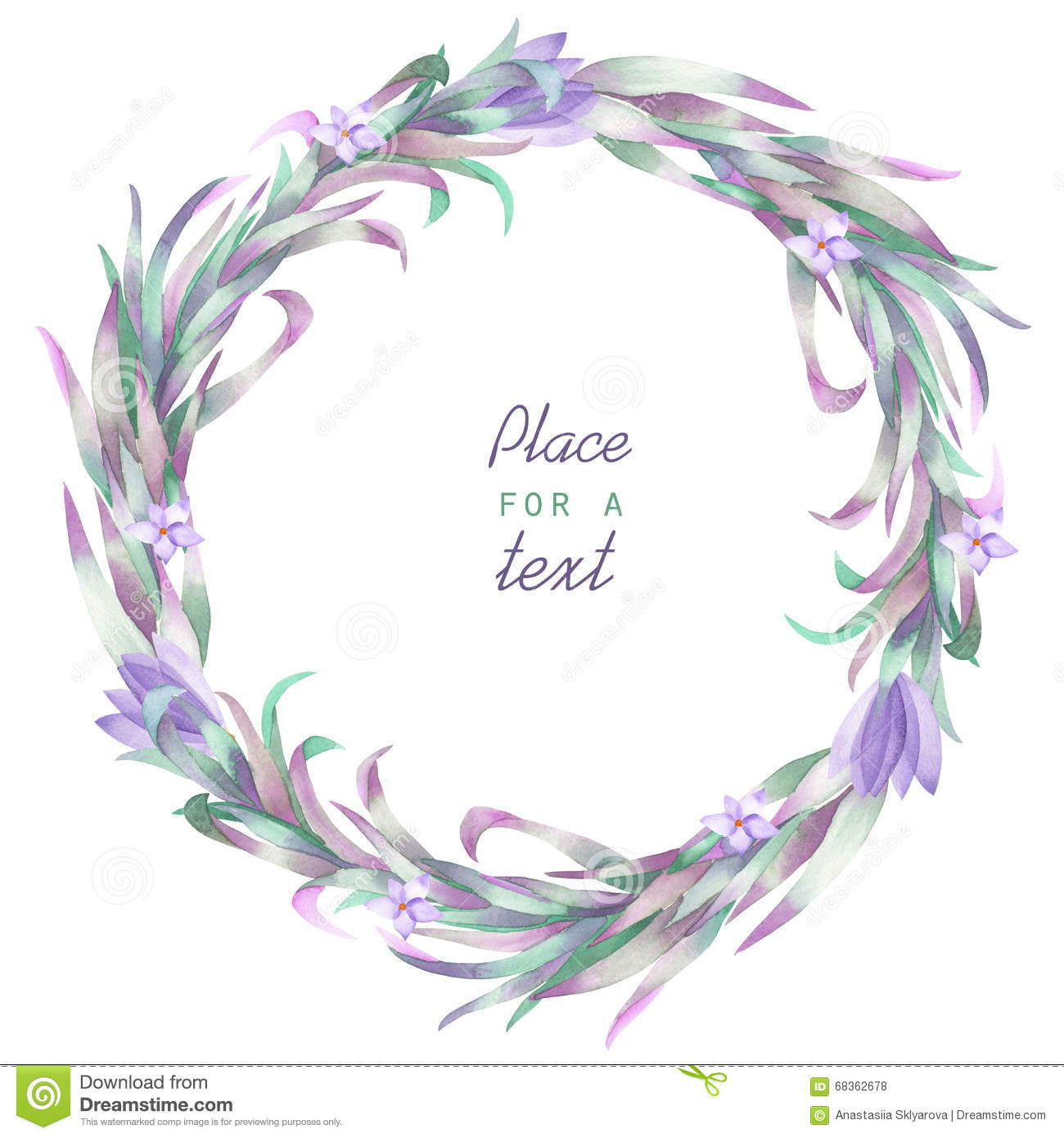 A Circle Frame Wreath Border With The Watercolor Crocus Flowers And Branches