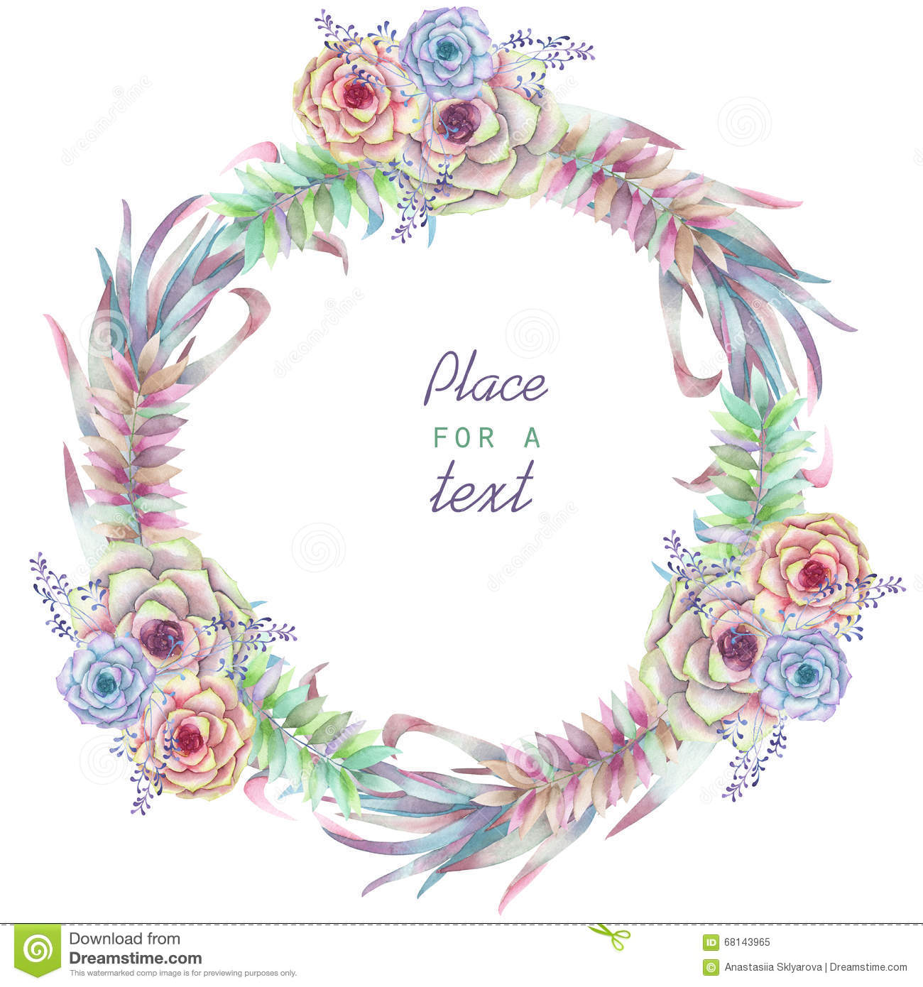 A Circle Frame, Wreath, Frame Border With The Watercolor Flowers And ...