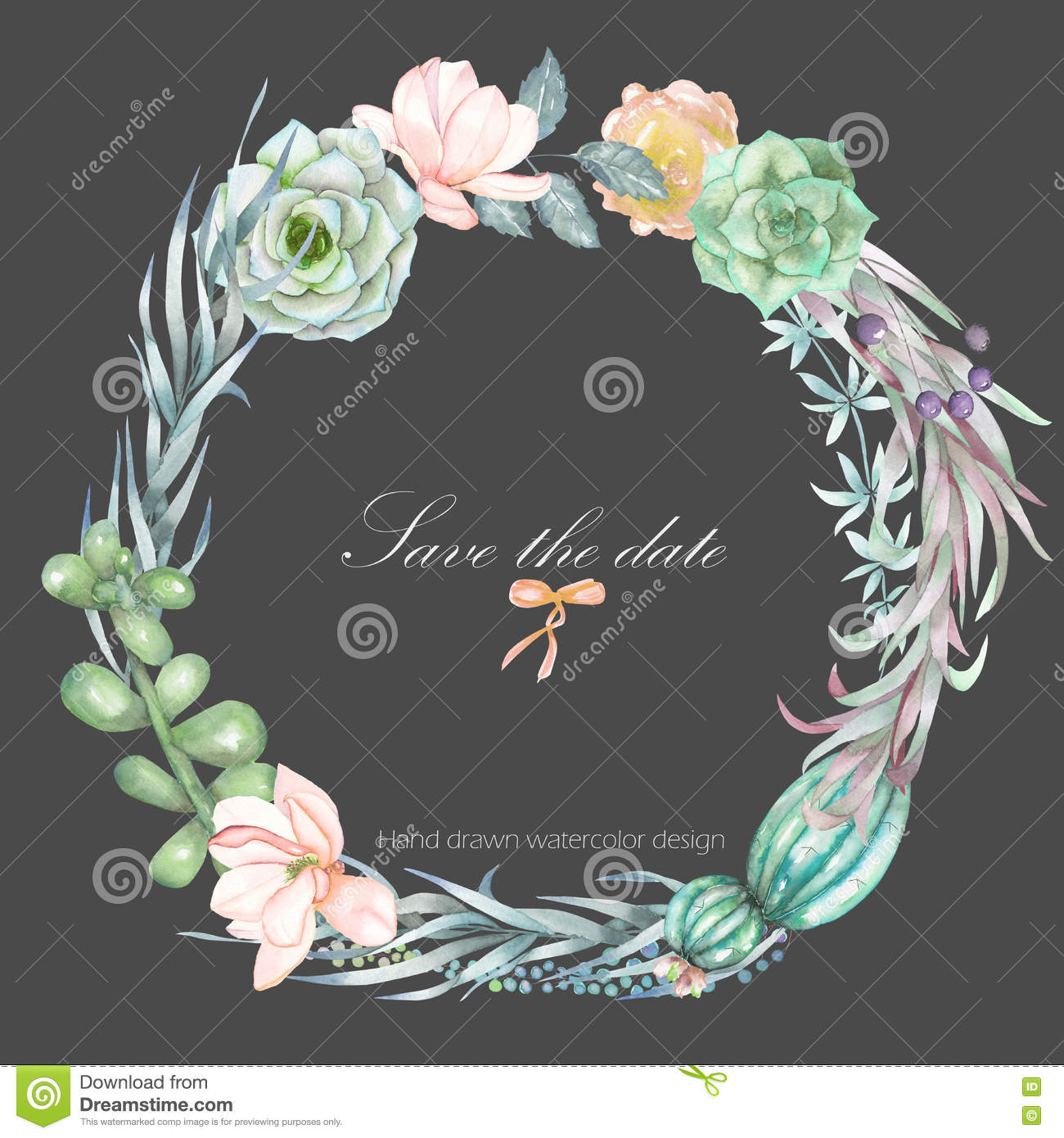 A Circle Frame Wreath Border With The Watercolor Flowers And Succulents Wedding Invitation Stock Photography